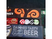 BRANDED BEER GLASSES ,BAR RUNNERS ,BEER MATS DRIP RUNNERS WINE AND BRANDY GLASSES ALL NEW