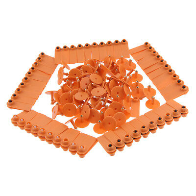 100 Pieces Blank Livestock Ear Tags For Goat Sheep Pig Cow Cattle Orange