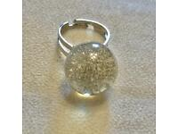 Trippy Space Galaxy Crystal Glitter Disco Clear Ball Festival Ring UK Size M
