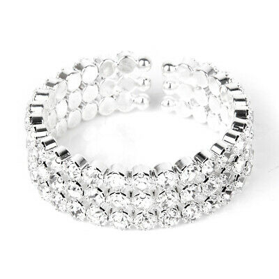 Stretch Silver 3 Row Crystal Rhinestone Cuff Tennis Bracelet Wedding Bridal Xmas 3 Row Stretch Rhinestone Bracelet