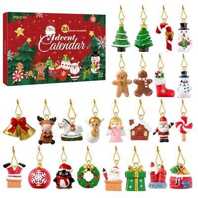 24X Creative Christmas Calendar Advent Hanging Ornament Set Santa Snowman Decor