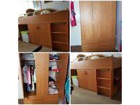Solid Wood Bed & Wardrobe