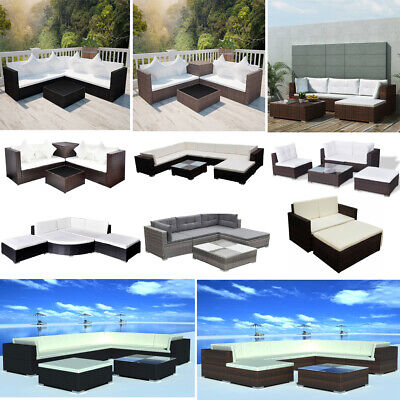 Poly Rattan Corner Sofa Garden Furniture Set Outdoor Conservatory Unit Patio Set