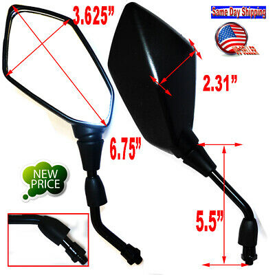 2x 10mm Black Motorcycle Moped ATV Rearview Side Mirrors with Kite Shaped Case