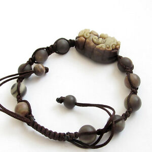 Natural-Stone-Gem-Happy-Lucky-Pi-Xiu-Tibet-Buddhist-Prayer-Beads-Mala-Bracelet