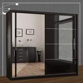 New High Gloss Sliding Doors Wardrobe with Mirror/Hanging Rails/Shelves in Black, Grey, White Colors