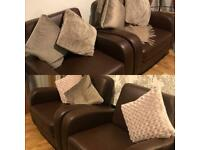 4 faux leather brown chairs in excellent condition