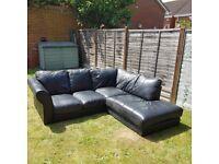 Excellent condition black leather corner settee