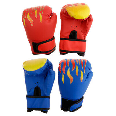 2 Pair Kid PU Foam Padded Boxing Glove Half Finger Kickboxing Punching Glove