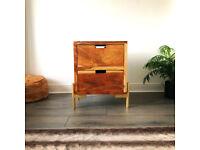 Sheesham 2 tier drawer with T bar legs