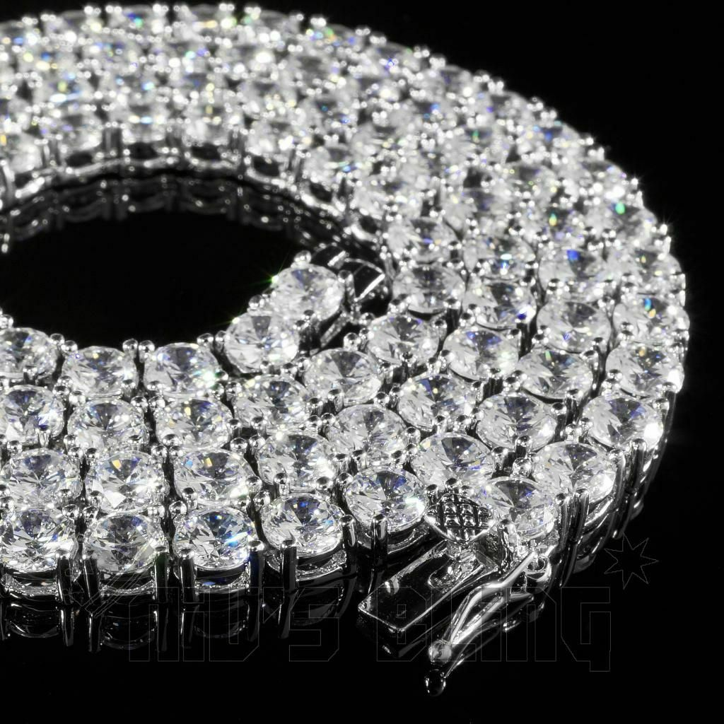 18k White Gold 1 Row 5MM Lab Diamond Flooded Out Iced Chain Mens Tennis Necklace