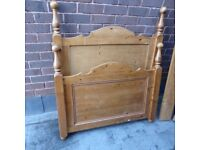 PINE SLEIGH BED single and matress