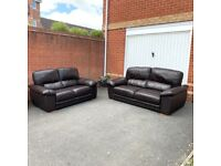 Excellent Condition 3+2 Seater Sofa Set - Brown Leather ( Free Local Delivery )