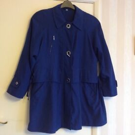 Cloud Nine ladies coat, three quarter length, royal blue, size M, in excellent condition