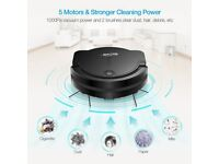 Robotic Vacuum Cleaner with Drop-Sensing Technology and Powerful Suction.