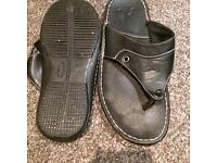 Black mens leather sleepers flip flops