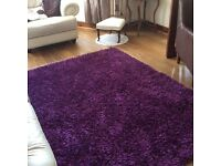 PAIR OF DUNELM PLUM SPIDER RUGS