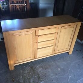 Excellent Condition Solid Oak Sideboard with Matching Coffee Table and Lamp Table