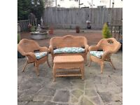 Cane patio furniture 2 seater & 2 chairs & table