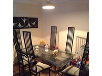 DESIGNER CUSTOM MADE GLASS TABLE +6 CHAIRS IN EX COND FREE LOCAL DELIVERY AVAILABLE