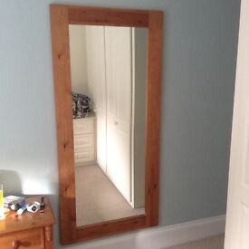 ANTIQUE PINE LARGE MIRROR 175cm X 83cm - REDUCED TO £25 - must be collected this weekend as moving