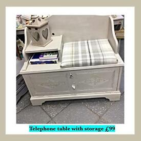 Vintage, shabby chic telephone table with storage