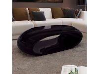 Designer Oval Black Gloss Coffee Table - Brand New