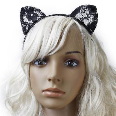 Fancy Dress Black Lace Cat Ears Headband Animal Costume Cosplay NYear (Black Cat Fancy Dress)
