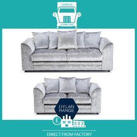 🗙New 2 Seater £169 3S £195 3+2 £295 Corner Sofa £295-Crushed Velvet Jumbo Cord Brand ⬜R7