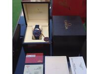 Complete omega box set blue rubber bracelet blue face omega seamaster chronograph with sweeping move