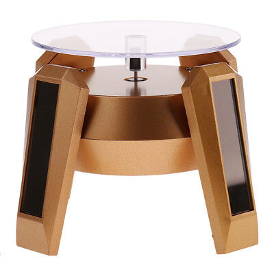 Turntable Rotating Jewelry Watch Phone Ring Display Stand Solar -golden Base