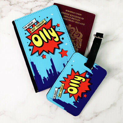 Kids Superhero Comic Personalised Printed Passport Cover and Luggage Tag Kids Personalized Luggage