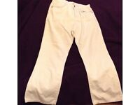 Classy ladies silver sparkly trim white stretch jeans