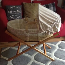 Mamas and Papas Moses Basket, Mattress and Stand