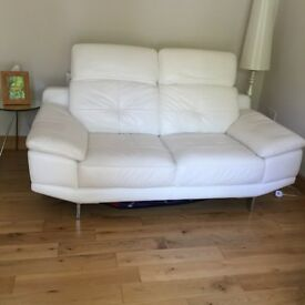 Immaculate Real Leather White Sofa