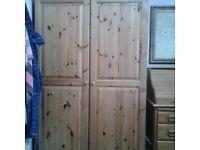 Large 2 door pine wardrobe