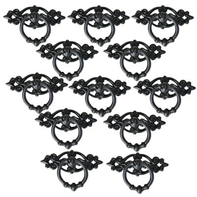 Ringe Schrank Schublade Zieht (12 x Metall schwarz Schrank Schublade Drop Ring zieht Schrank Bin Knob Griff)