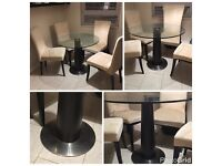 Modern glass round table, space saving single base + four chairs