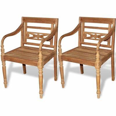 Garden Furniture - vidaXL 2 pc Teak Wood Dining Arm Chair Outdoor Garden Patio Furniture Batavia
