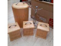5Pcs Kitchen Storage set Tea Coffee Sugar Bread Bin mug cup holder