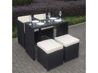 Black Rattan 5 Piece Storeaway Garden Dining Set
