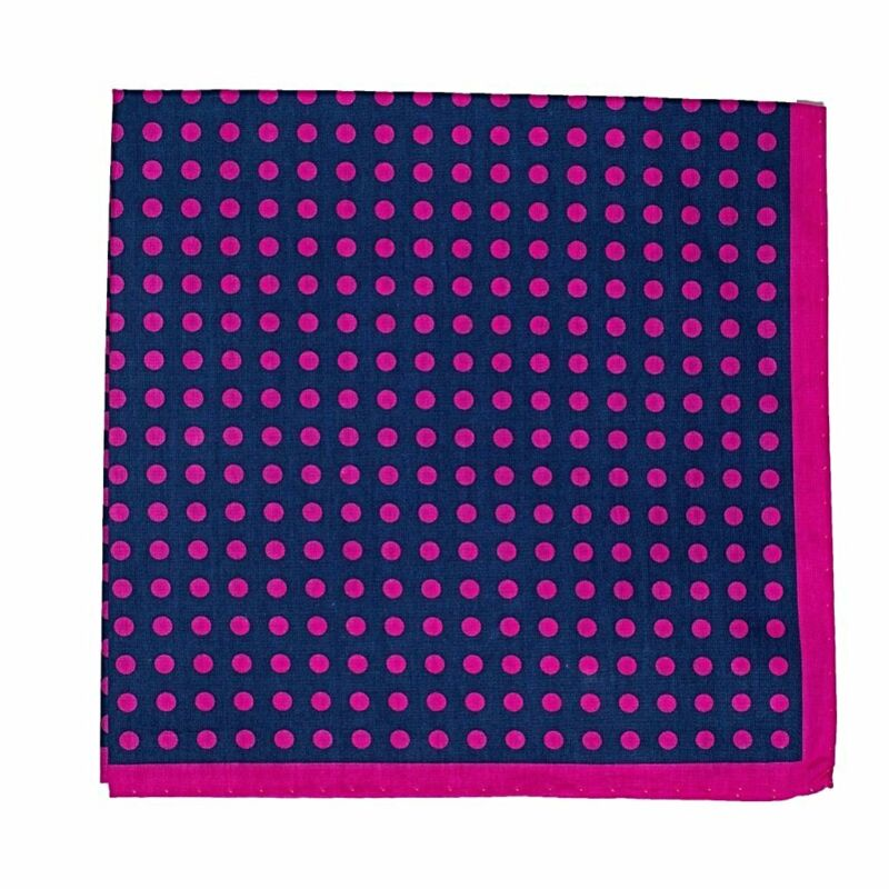 Thomas Pink Printed Cotton Pocket Square ~ Made in Italy