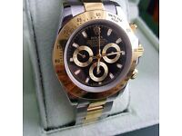 TwoTone Rolex Daytona with Black Face Comes Rolex Bagged And Boxed With Paperwork