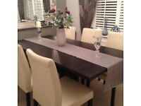 6 Habitat Cream Leather Chairs & Ex Show House Dining Room Table