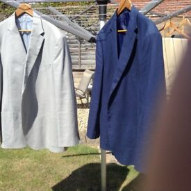 2 linen mix semi structures men's jackets. Virtually new. Marks and Spensers. 48 chest long.