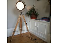 Alfred Tripod Floor Lamp, Natural Wood