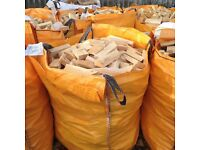 Dumpy Bags full of softwood cuttings for firewood for log burners