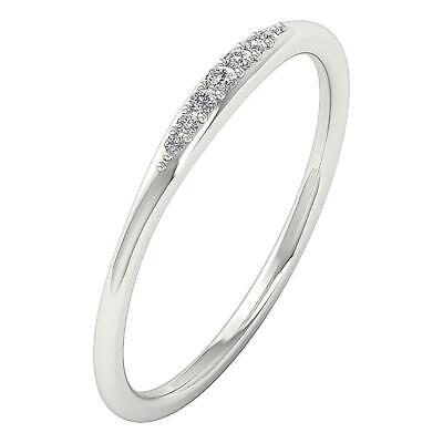 Round Journey Diamond Anniversary Wedding Ring I1 G 0.08 Ct 14K Solid White Gold Diamond Journey Anniversary Ring