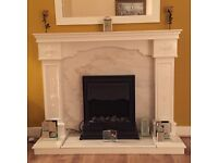 Wood & Marble Fireplace & Electric Fire