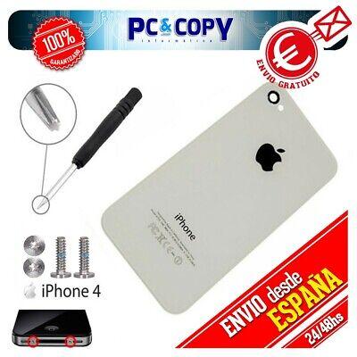 S359 TAPA TRASERA IPHONE 4 BLANCA CRISTAL + TORNILLOS Y DESTORNILLADOR CARCASA...